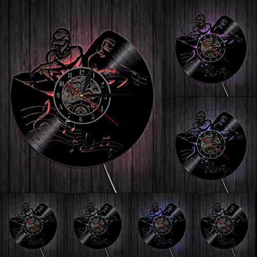 KDBWYC Reproductor de Discos Mezclador DJ Decorativo 3D Reloj de Pared eejay Spinning Scratching Álbum Disco de Vinilo Reloj Colgante Music Club Party