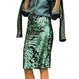 IMJONO Jupe Crayon Mode Femmes Jupe Midi Sequins Paillettes CouleurCrayon à Taille HauteFesse Serré Raccord Jupe Fête Nouvel Elegant Classique Soirée Occasion(Vert,M)