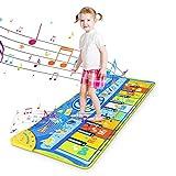 RenFox Tappeto Musicale Bambini Tappetino da Ballo per Pianoforte Tappeto Tastiera Musicale Piano Mat Tappetino da Gioco Musicale Tocco Mat Giocattolo Educativo Regalo per Bambini Grande 130x48cm