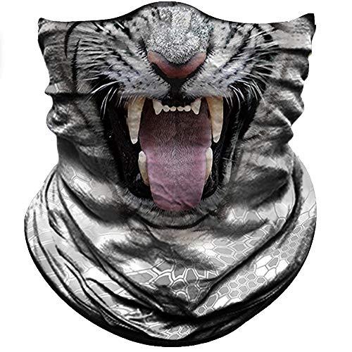 Men Blue Eye White Tiger Pattern Neck Tube Seamless Bandana Mask Wind Protector