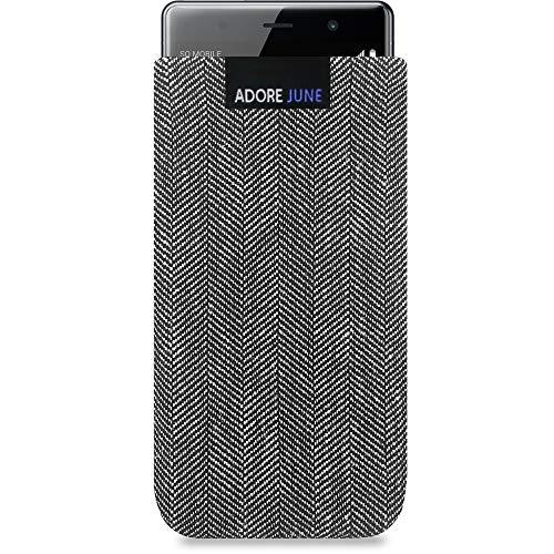 Adore June Business Tasche passend für Sony Xperia XZ2 Premium Handytasche aus charakteristischem Fischgrat Stoff - Grau/Schwarz | Schutztasche Zubehör mit Bildschirm Reinigungs-Effekt | Made in Europe