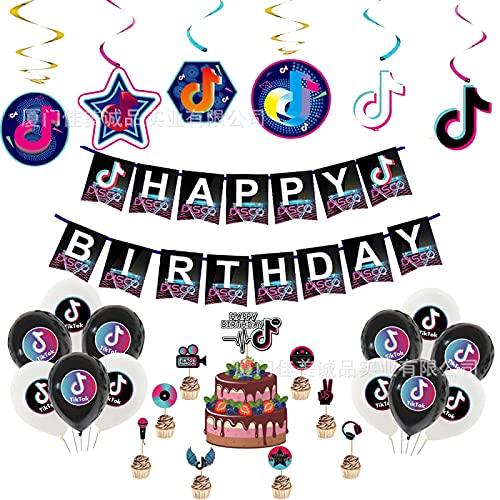 lúcar Vibrato Theme Party Decoración Tiktok Flag Pull Banner Cake Insertar Tarjeta Spiral Charm Fiesta de cumpleaños Set