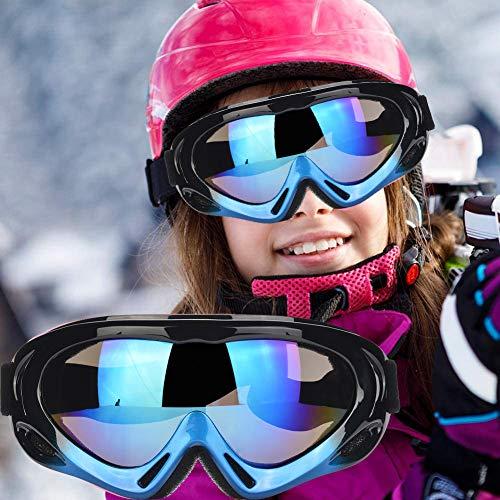 Fengzio Skibrille Kinder Snowboardbrille Winddicht Ski Schutzbrille UV400 Schutz für Wintersportarten Skifahren, Fahrrad, Skaten, Snowboarden (02-Blue)