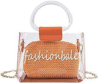 TOOGOO Straw Weaving Letter Print Transparent Bag For Women Chain Summer Beach Bag Lady Ring Handle Shoulder Bag Handbag Black