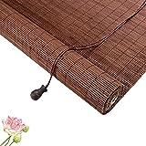 Naturales Persiana Enrollable de Bambú,Persiana de Bambú Para Interiores,Cortina de Bambu-marrón,Estores para Ventana Tipo Gancho,Cortinas Privacidad Protección,Personalizable (80x120cm/32x47in)