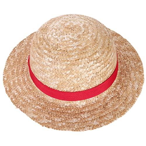 Cappello da sole Boy Girl One Piece Cap Cappello Di Paglia Neck String Rufy Flat Hats Cosplay Cartoon Giapponese Puntelli Cappello Kid Red Stripe Beach Hat