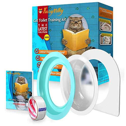FuzzyMilky Cat Toilet Training System The 2nd Generation - Kitty Toilet Training Kit Teach Cat to Use Toilet