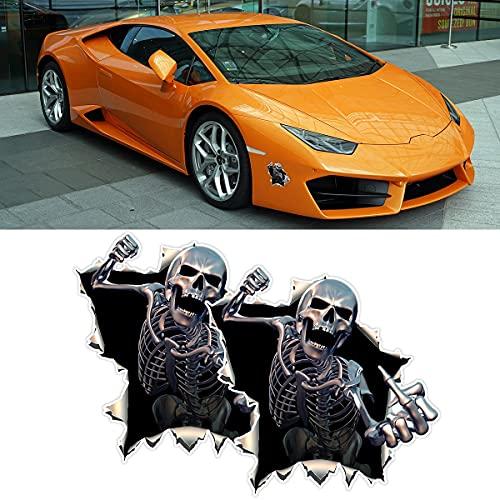 2 Pcs Car Skull Decal, Aggressive Middle Finger Skeleton Hand Cartoon Sticker, Fit Car Window, Bumper, Door, Automobile Tail Door (Black)