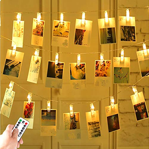 Greenke 19.6FT Photo Clips String Light with Battery & USB Powered, Picture Clip Lamp with Remote Control, 8 Modes 40 LED Fairy Twinkle Lights with Clips for Party Christmas Bedroom Decor (Warm White)