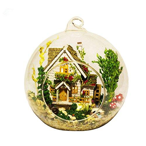 WYD DIY Miniature Wooden Dollhouse Glass Ball Creative Birthday Xmas Gift (Forest House)