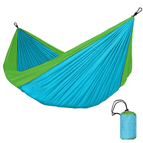 MAATCHH Garden Camping Hammock Portable Single Double Hammock Parachute Nylon Hammock Outdoor Indoor Dormitory Adult Portable for Outdoor Hiking Travel Backpacking (Color : Blue)