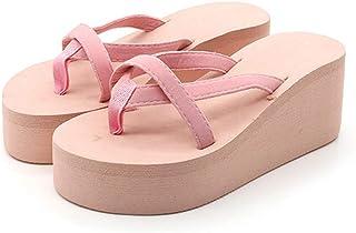 Women Fashion High Heel Summer Casual Straped Slippers Beach Flip Flops