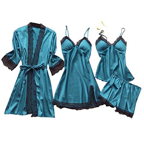 Lazzboy Dessous Frauen Silk Lace Babydoll Nachtwäsche Nachthemd Pyjamas Set Kimono Damen Morgenmantel Satin Bademantel Seide Roben V Ausschnitt Mit Blumenspitze(Blau,M)