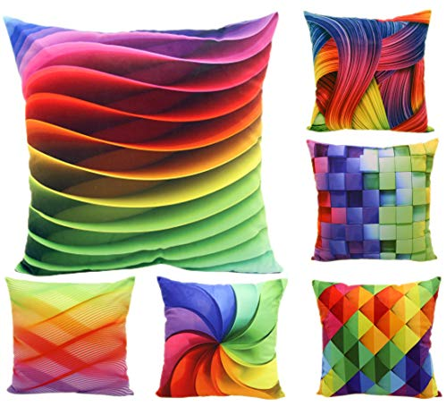 MONTANCHEZZ Pack 6 Fundas de Cojín 45 x 45cm. Impresión Digital, Textura Sedosa, Estilo Moderno. Throw Pillow Case Funda de Almohada (Arcoiris)