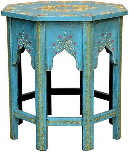 Oriental Coffee Table Moroccan Side Table Blue L Height 45 Diameter 38 cm Hand-Painted Handmade Flower Stool Vintage Table