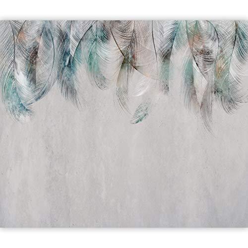murando Fotomurales autoadhesivos Pluma 441x315 cm Papel Pintado Decoración de Pared Murales Pegatina decorativos adhesivos 3d moderna de Diseno Fotográfico Boho Abstracto Turquesa Gris b-A-0764-a-a