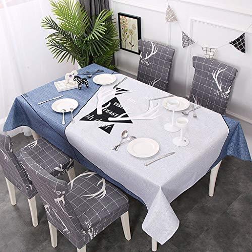 Chy tafelkleed, katoen, linnen, rechthoekig, groot dressoir voor tafel, feestjes, vakantie 140 * 180cm D