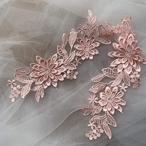 Nuevo 10 colores 3D soluble en agua de encaje flor DIY tocado de la boda vestido de flores apliques accesorios de encaje 23,5 x 7,5 cm 10 piezas/lote Carne rosa