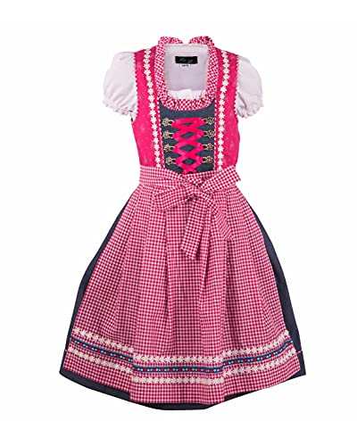 Ramona Lippert® - Vestido tirolés para niña, Color Rosa Azul 86 cm-92 cm