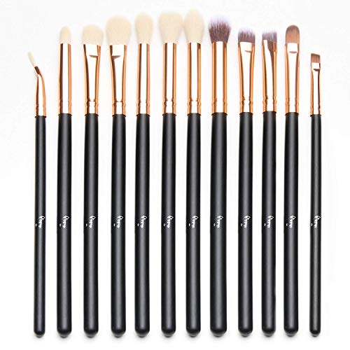Qivange Augenpinsel Set Makeup Bürsten set mit Beutel(12pcs Rose Gold)
