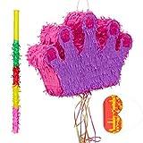 Relaxdays Piñata Infantil Corona con Palo y Antifaz, Papel, Rosa y Lila, 31 x 49 x 10 cm