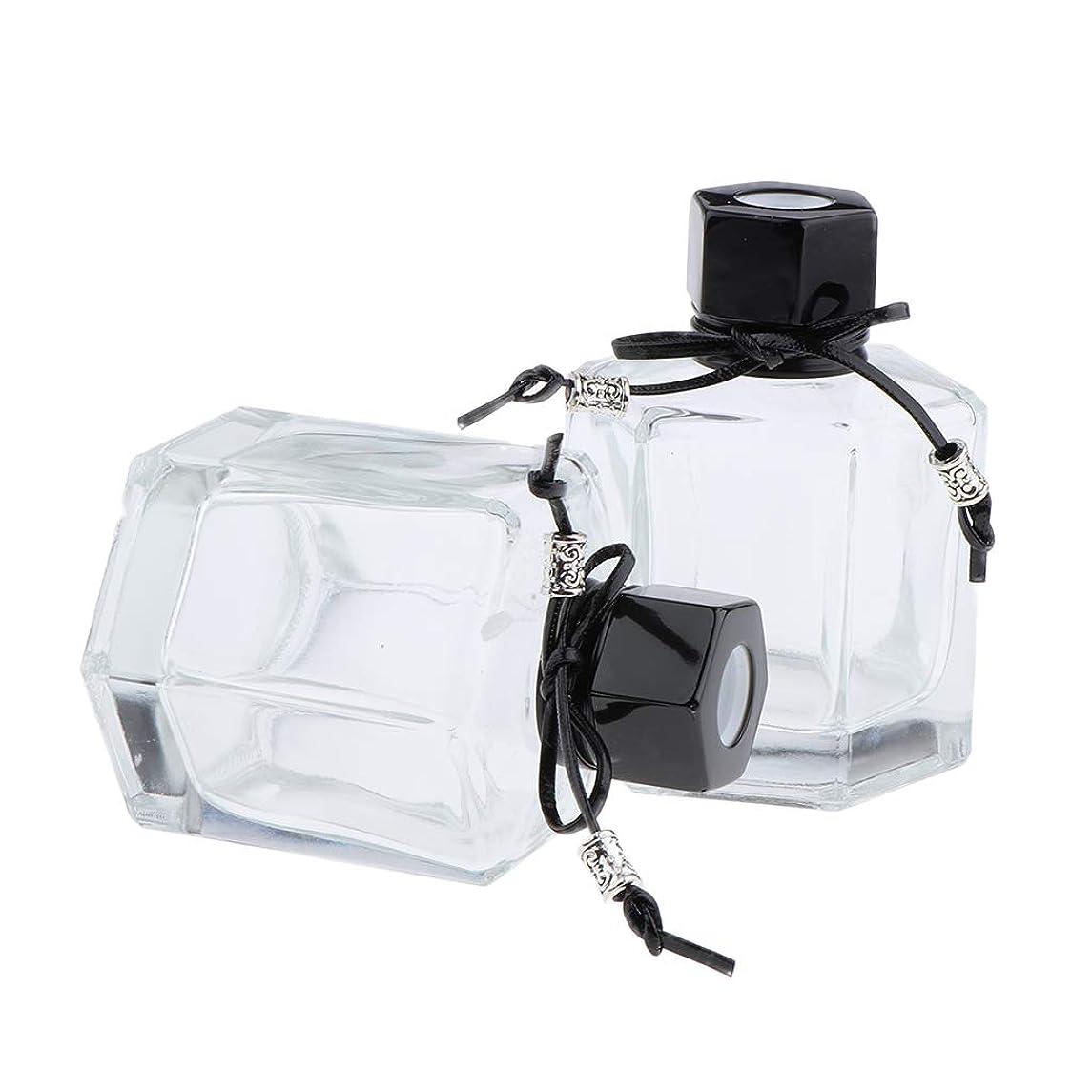 カレンダー権限を与えるエコーIPOTCH 2個 香水ディフューザーボトル 六角形スクリューキャップ ガラス クリアボトル 2色選べ - ブラック