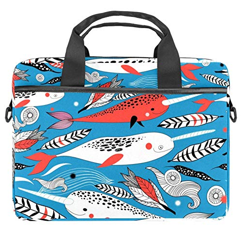 TIZORAX Laptop Bag Marine White Red Whale Feather Conch Pattern Notebook Sleeve with Handle 15-15.4 inches Carrying Shoulder Bag Briefcase