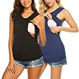 Ekouaer 2 Pack Layers Maternity Nursing Comfy Tank Tops Sleeveless Breastfeeding Clothes Two Pack Navy+Black M
