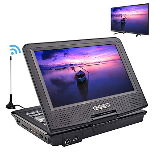 Portable DVD Player with 9.8' Swivel Screen, Built-in Rechargeable Battery, Support Earphone/SD card/USB/TV, Region Free, for Kids/Parent/Hospital/Car