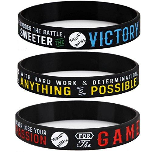 Sainstone Power of Faith Baseball Silicone Wristbands with Motivational Sayings for Boys - Inspirational Motto - Baseball Rubber Bracelets Sports Holiday Jewelry Gifts (Unisex)