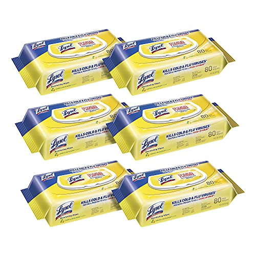 Lysol Disinfecting Handi-Pack Wipes, Lemon and Lime Blossom, 480 Count (Pack of 6), Packaging May Vary