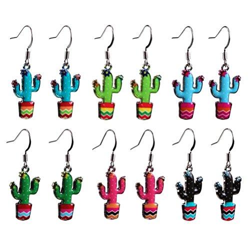 JOE COOL Netter bunter Kaktus-Tropfen baumeln Ohrringe - zufällig ausgewählte Farben