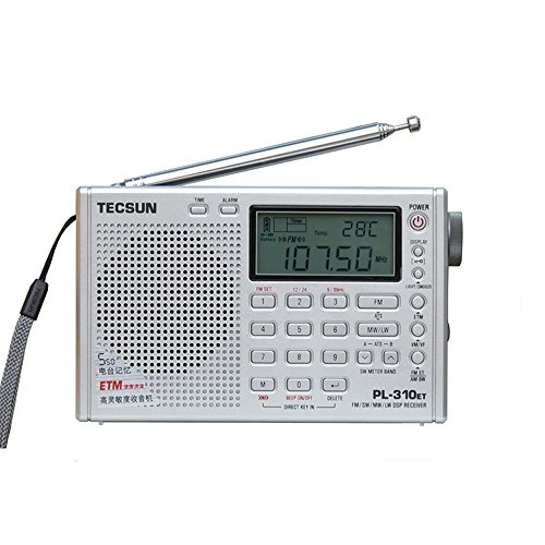 TECSUN PL-310ET Radio Digital PLL Portable Radio FM Stereo/LW/SW/MW DSP Receiver Silver (PL310Silver)