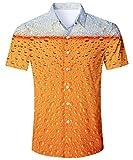 TUONROAD Camicia Hawaiana Uomo Funky Fantasia Birra 3D Stampa Vintage Gialla Camicia Slim Fit Manica Corta Camicia da Spiaggia Bottone Estivo Casual Shirt - XXL