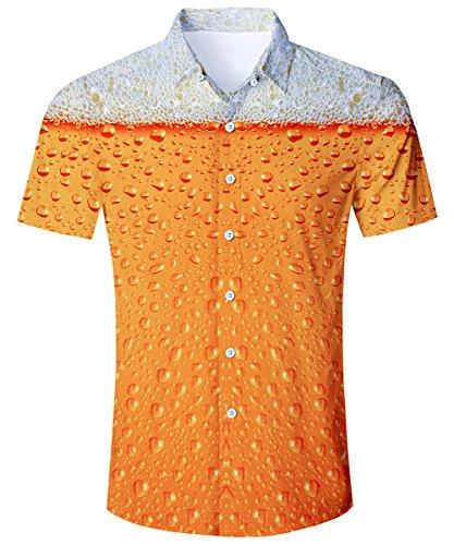 TUONROAD Hawaihemden Herren Funky Bier 3D Hemd Kurzarm Freizeithemden Standard Fit Sommerhemd Casual Shirt, Gelbes Bier XL