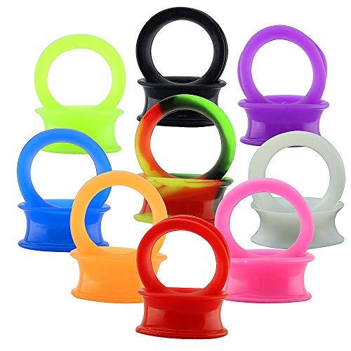 9 Pares Oídos Delgados Flexibles de Silicona Dilatación Oreja 4-25mm Expansores de Túnel Silicona Para Hombre Mujer Kit Oreja Piercing