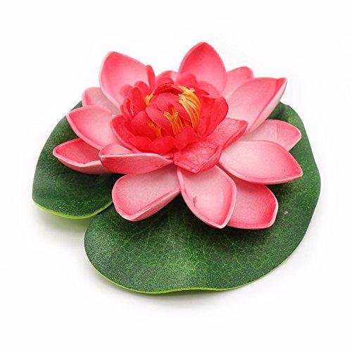 Kentop Schwimmend lotusblüte Wassergras Kunststoff Simulation Wasserpflanzen Seerose deko Nymphaea Simulation Wasserpflanzen (Rose Rot)