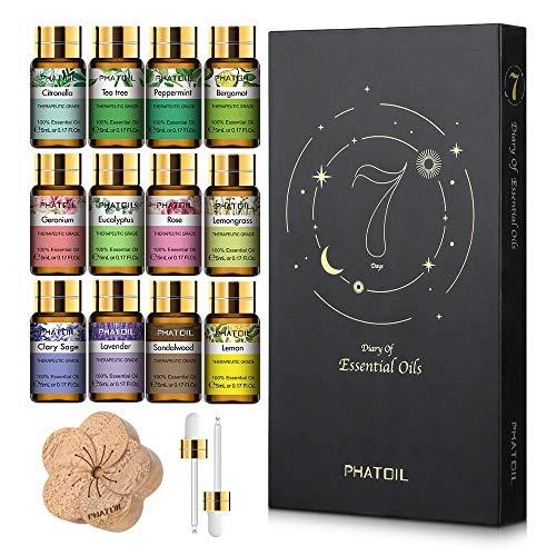 Pack 12x5ml Aceites Esenciales Fragancias de Frutas y Plantas 100% Natural y Puro Aceite Aromatico para Humidificador Aromaterapia Perfume + Madera Difusora
