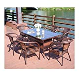 Muebles de vida al aire libre Rattan Jardín de muebles Muebles de terraza Muebles de jardín Liquidación de cristal mesa de centro superior Patio Set Mesa de café Patio conversación al aire libre (6 pi