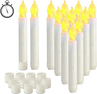 Raycare 12pcs LED Flameless Taper Candles with 6H Timer, 0.79''×6.5'' Battery Operated Fake Candles with Warm Yellow Flick...