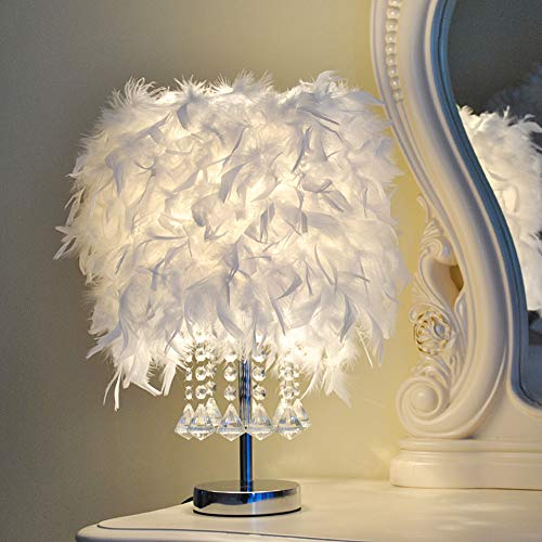 Tischleuchte 1pc Tischlampe Federn Kreative Moderne Nachtlampe Kristall Ball Dekorative Beleuchtung Prinzessin Hochzeit Kinderzimmer Schlafzimmer, weiß
