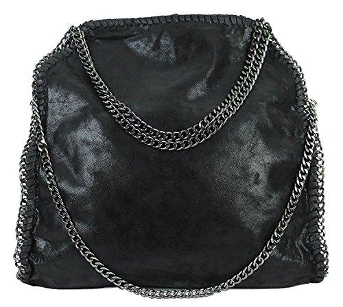 Anush Damen PU lässigen Kette Handtasche Modisch Schultertaschen Glitzer Beuteltasche (Schwarz)