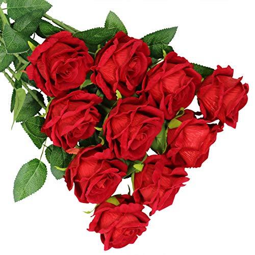 Olrla 10 rosas artificiales grandes con tallo largo, rosa roja que florece de imitación, para decoración de boda, hogar, fiesta de cumpleaños, centro de mesa (rojo 10)