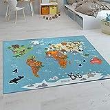 Paco Home Kinder-Teppiche, Kurzflor-Teppiche für Kinderzimmer mit vers. Designs Spielteppiche Bunt, Grösse:200x290 cm, Farbe:Türkis