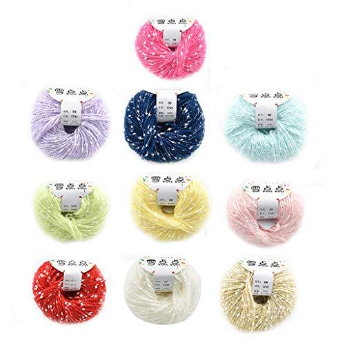 Fugift Juego de 10 madejas de algodón puro para tejer y ganchillo, ideal para mantas y ropa de bebé.