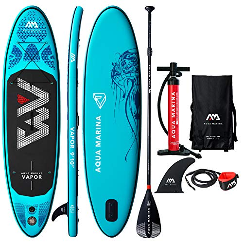 "9'10"" Inflatable Stand Up Paddle Board 4.72"" Thick Aqua Marina Vapor SUP with Double Action Pump, Magic Backpack, Slide-in Center Fin, Sports III Paddle and Safety Leash"