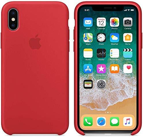 Funda Silicona para iPhone X y XS Silicone Case, Logo Manzana, Textura Suave, Forro Microfibra (Rojo)