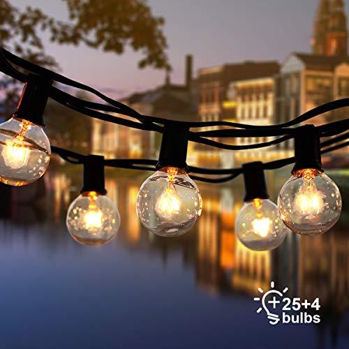 ROVLAK Lichterkette Außen Glühbirnen Lichterkette Innen Lichterkette Wasserdicht 25+4 Ersatzlampen G40 Lichterkette für Haus, Garten, Party, Hochzeit, Halloween und Weihnachten, Warmes Gelb