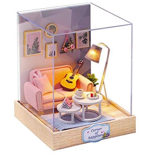 Fsolis DIY Puppenhaus Miniatur-Kit mit Möbeln, 3D Holz Miniaturhaus mit Staubschutz, Mini-Puppenhaus Kit Kreatives Geschenk (QT25)