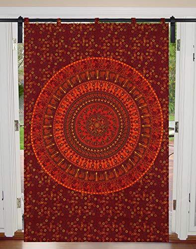 Tende da tappezzeria, tende boho, tappezzeria, mandala da appendere alla parete, con trattamento mandala, per finestra, da appendere, 125 x 208 cm, tenda singola